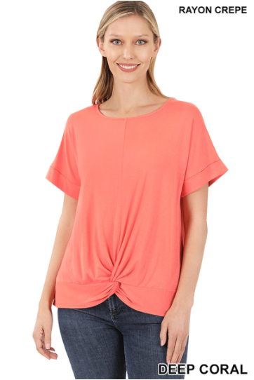 Short Sleeved Knot Front Top Deep Coral