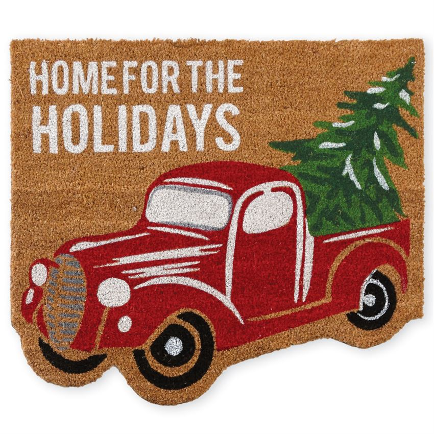 Red Christmas Truck Holiday Front Doormat
