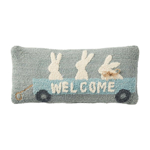 Bunny Wagon Hooked Throw Pillow