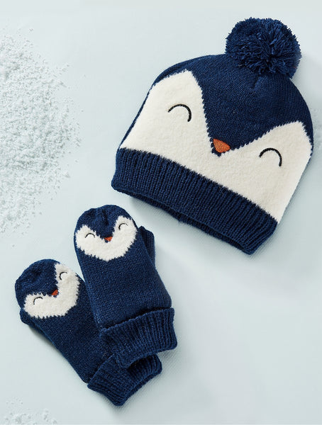 Animal Knit Hat & Mittens Set