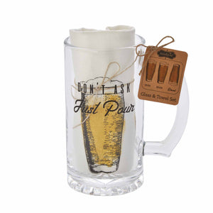 Just Pour Beer Mug Towel Set
