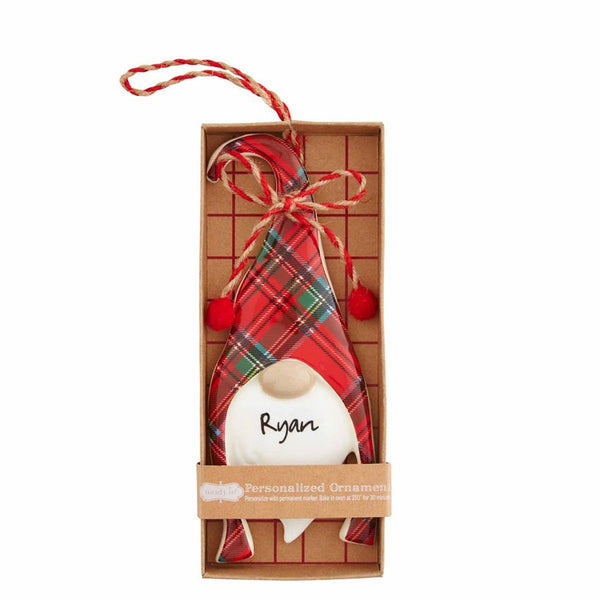 Gnome Ornament Red Tartan