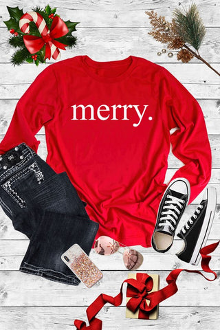 Merry Christmas Graphic Printed Long Sleeve Shirt