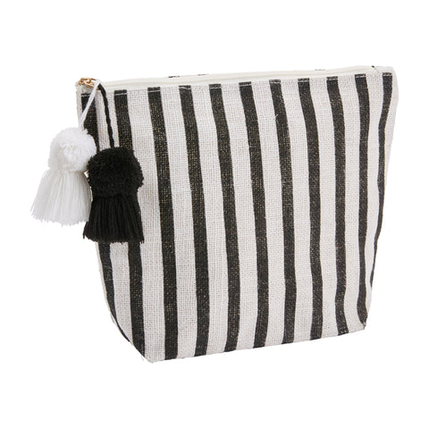 Jute Black and White Stripe Zipper Carry Case