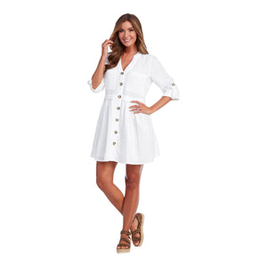 White Addison Button-Up Dress