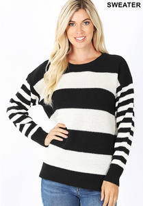 Stripe Sweater Black