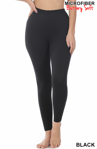 Microfiber Full Length Leggings Black