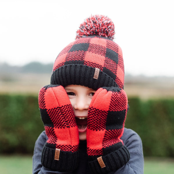 Kids Mittens Lumberjack Red