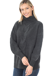 Turtleneck Cable knit Balloon Sleeve Sweater Charcoal