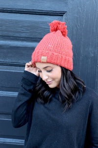 Fleece Lined Knit Hat Orange Speckle