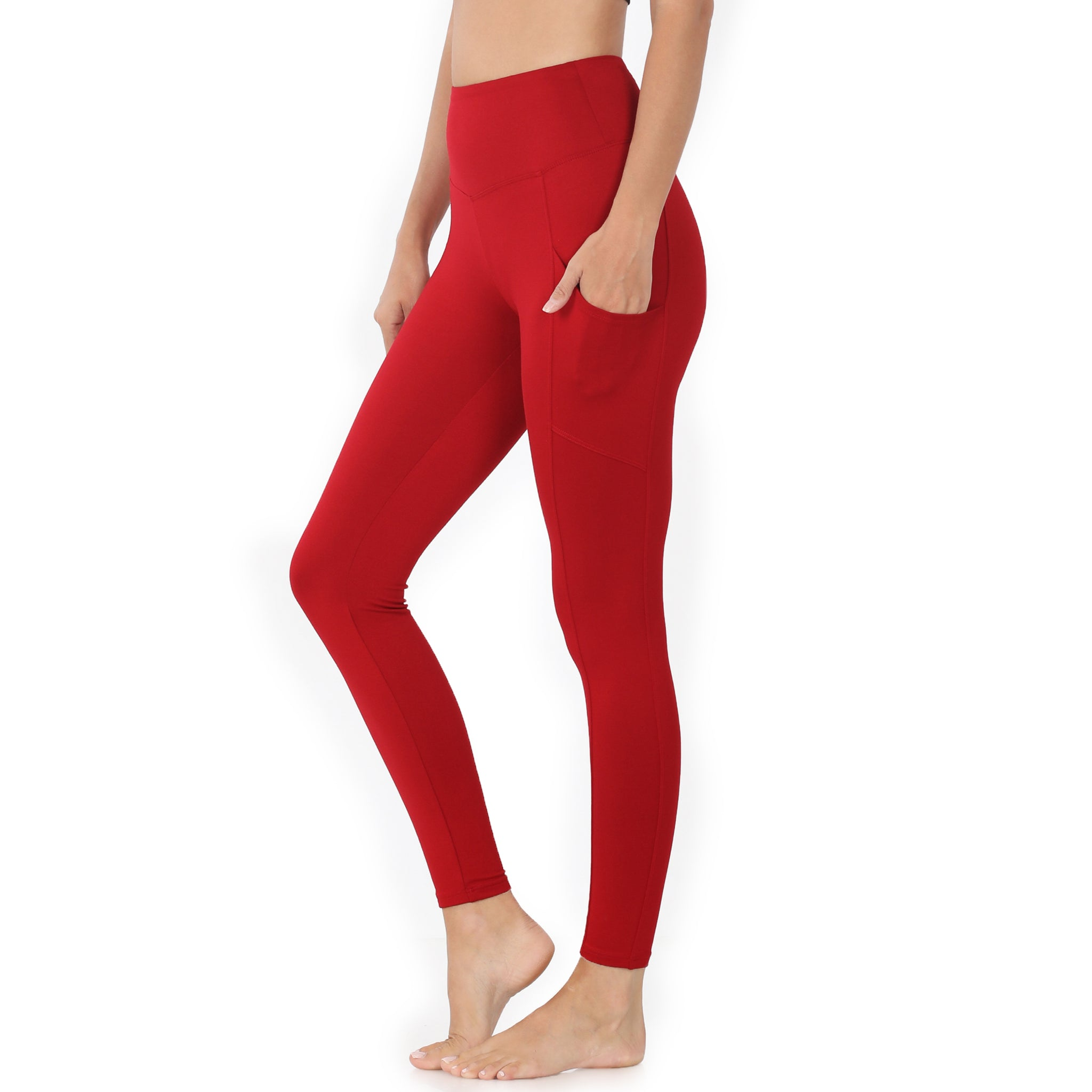 Brushed Microfiber Pocket Leggings Dark Red