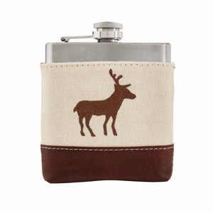 Standing Deer Canvas Leather Flask