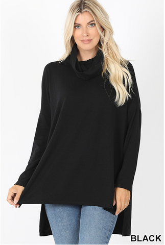 Cowl Neck Long Sleeve Hi-Low Top Black