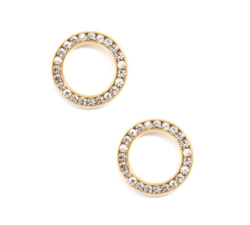 Pave Circle Stud Earring
