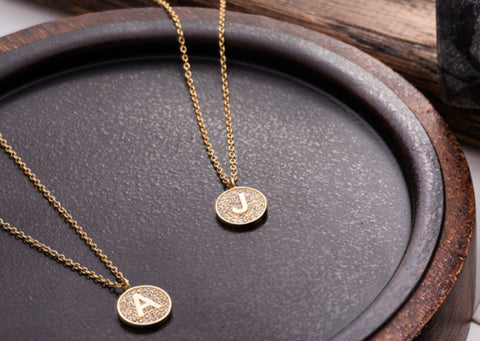 Gold Micro Pave Disc Initial Necklace