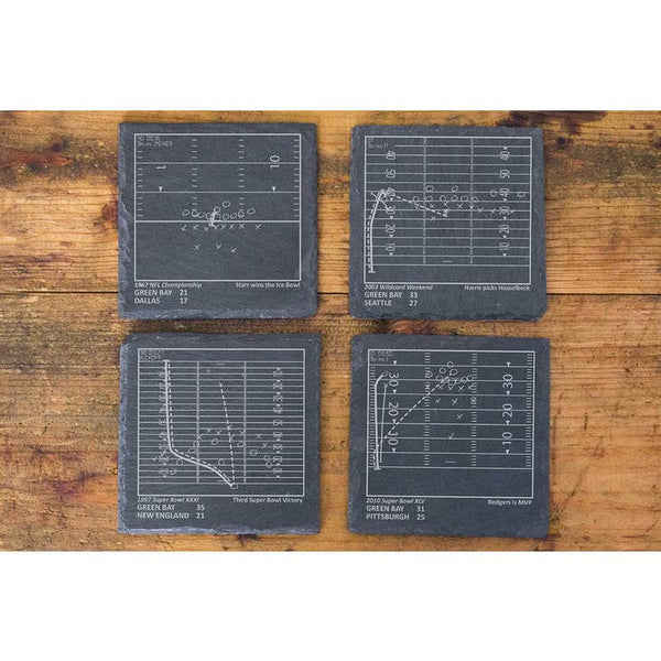 Greatest Packers Plays Slate Coasters