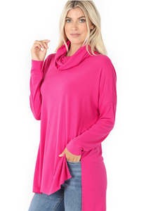 Cowl Neck Long Sleeve Hi-Low Top Hot Pink