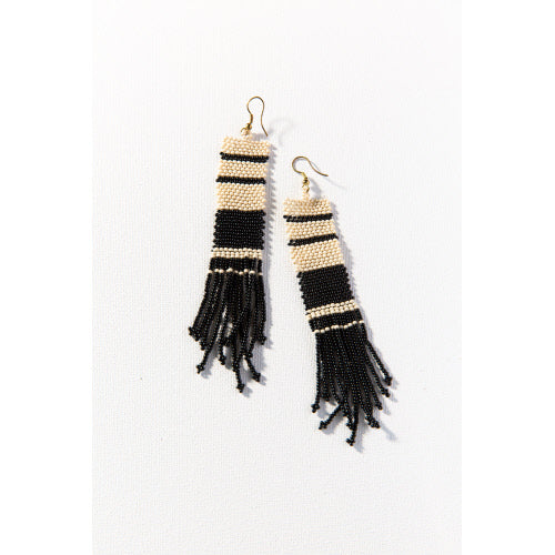Blk & Ivory Stripe Long Beaded Earrings