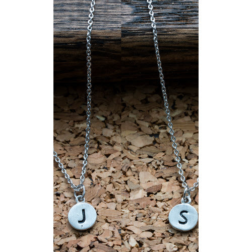 Silver Dainty Disc Initial Necklace