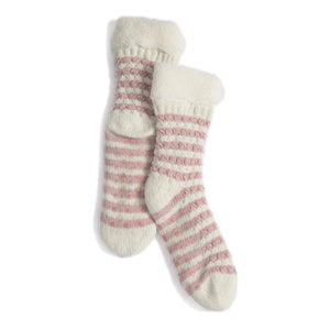 Claudia Slipper Socks Pink Stripe
