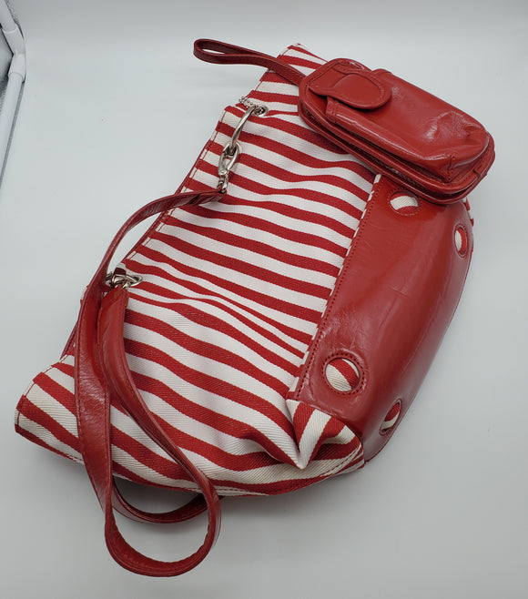 La Diva Striped Canvas Purse