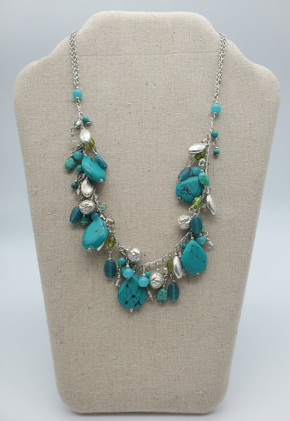Turquoise & Silver Costume Necklace