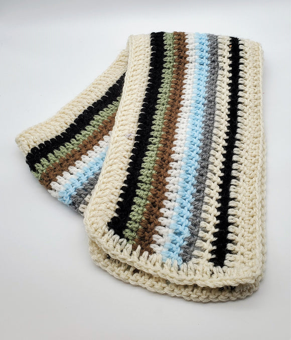 Hand-knit Multi-stripe Scarf