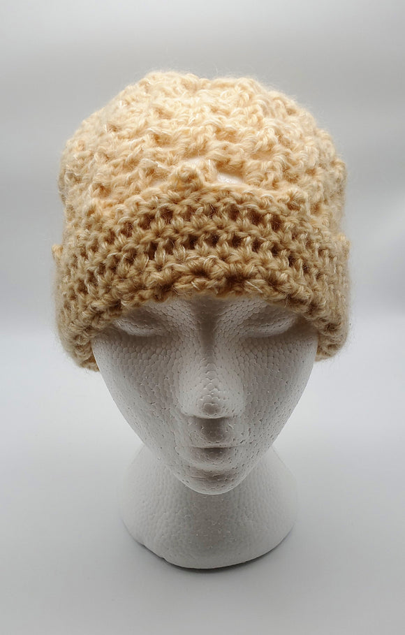 Ladies Hand-Knit Hat - Cream