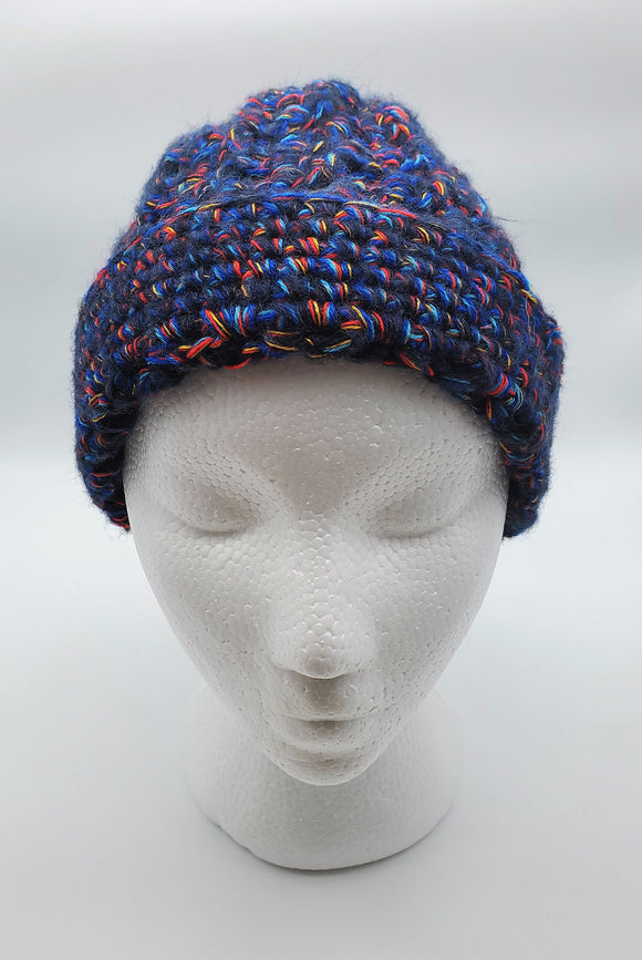 Ladies Hand-Knit Hat - Navy
