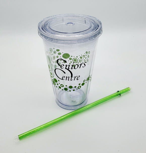 Seniors Centre Plastic Cup with Straw