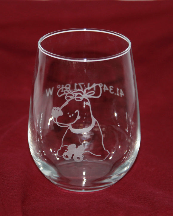 Dog Watch Stemless Wine Glass