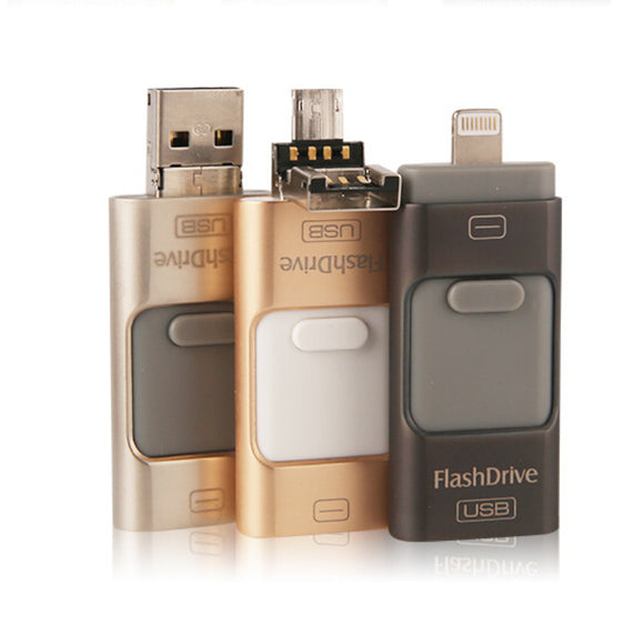 FLASH DRIVE- 16GB -ALL IN ONE-OTG SUPPORTED- ANDROID-IPHONE-LAPTOPS-PC'S - Saamaan.Pk