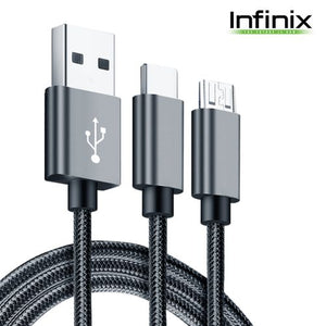 Infinix XPL 02 (2 In 1) Fast Micro+Type C USB Data Cable - 1M - Gray - Saamaan.Pk