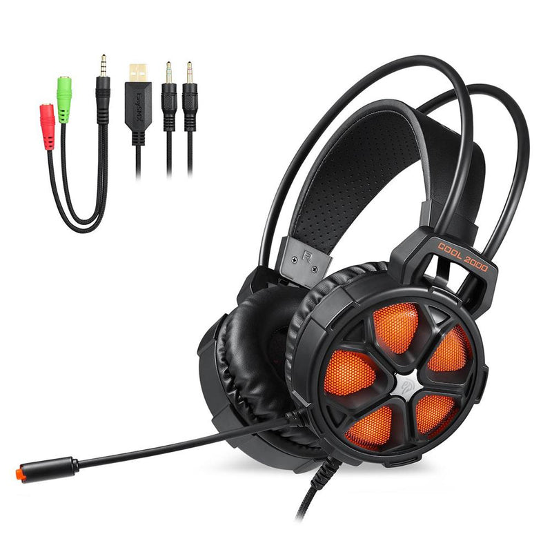 Gaming Headset Earphone Wired Gamer Headphones Stereo Sound Headsets with Microphone LED Light For X-box One S X Pc