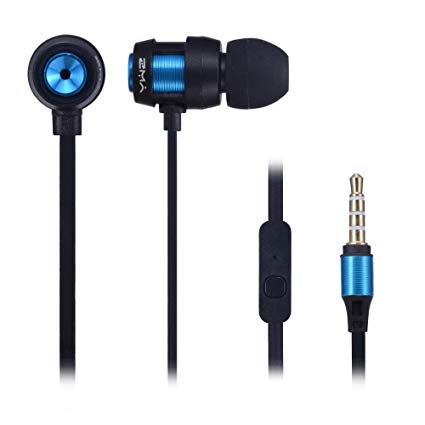YWZ 1088 metal texture bass expression earphone 3.5mm plug metal in-ear stereo earphones with mic - Saamaan.Pk