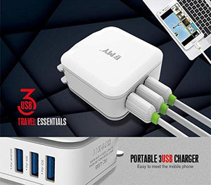EMY  3.1A 3 USB Home Travel Charger - White - Saamaan.Pk