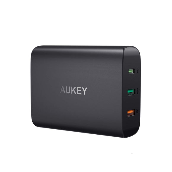 AUKEY USB C Charger, 74.5W 3-Port Wall Charger with 46W Power Delivery 3.0 & Quick Charge 3.0, Compatible MacBook, iPad Pro, iPhone Xs/XS Max/XR, Samsung Galaxy S9 / S9+ / Note9 - Saamaan.Pk