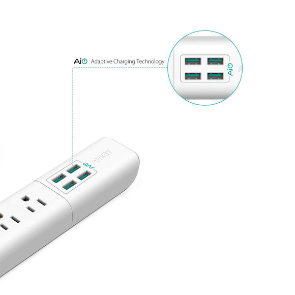 AUKEY Power Strip with 4 USB Ports and 4 Outlets & 5ft Power Cord for Smartphone, Laptop, Tablet, Lamp and More - White by AUKEY - Saamaan.Pk