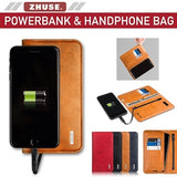 ZHUSE 2 in 1 Leather Phone Cover Bag and 6800mAh PowerBank Cover iPhone Samsung Huawei iPhone XS XSMax with Fast Charging - Saamaan.Pk