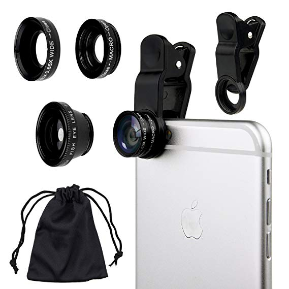 3 in 1 Selfie Camera Lens Mobile Phone Clip Lenses Fish Eye Wide Angle Macro Camera Lens - Saamaan.Pk