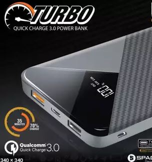 Space TURBO PD Technology 10000mAh Power Bank For Fast Charging iPhone X,XS,11- 6 Months Official Warranty - Saamaan.Pk