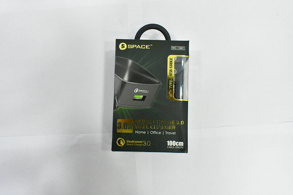 Space Quick Charger 3.0 Qualcomm 3.0 Chip 3A Output Wall Charger with Type-C Cable WC-130C - Saamaan.Pk