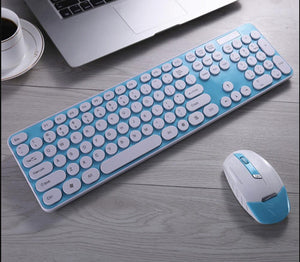 Rounded Keys Combo Wireless Keyboard And Mouse + Keyboard Protector - Saamaan.Pk