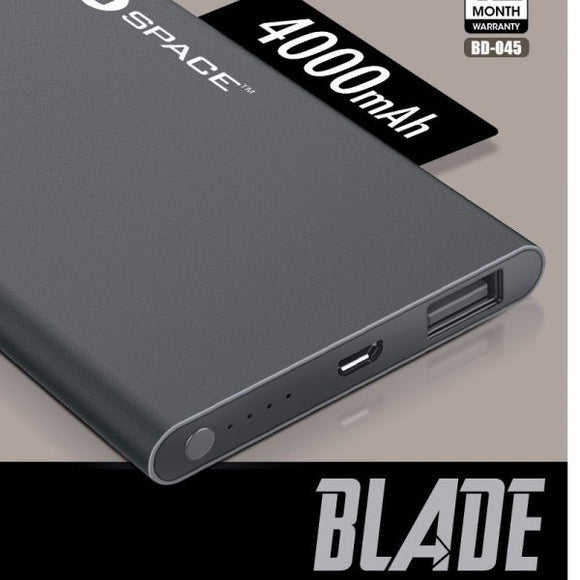 Space Blade 4000mAh Power Bank Metal Body - 6 Months Warranty - Saamaan.Pk