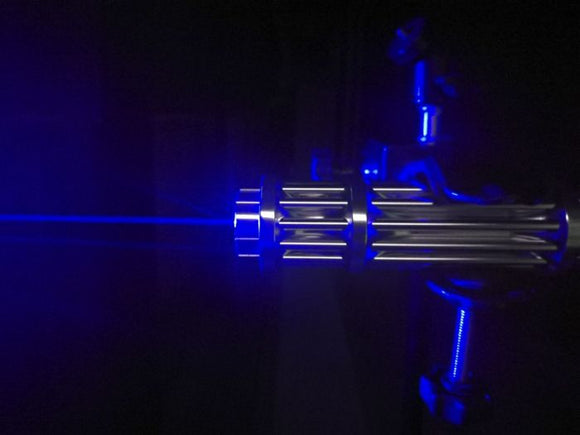 Gatling 5000mW  Blue High Power Burning Laser with 5-Lenses Rechargeable Battery ! - Saamaan.Pk