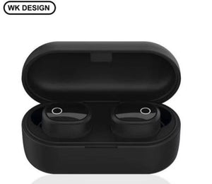 WK V20 Dual V5.0 Wireless Earphones Bluetooth Earphones 3D Stereo Sound Eardots with Dual Microphone and Charging box - Saamaan.Pk