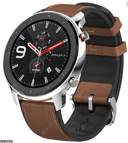 AMAZFIT GTR 47mm Smart Watch 24 Days Battery Life 5ATM Waterproof Global Version ( Xiaomi Ecosystem Product ) - Brown 47mm Stainless Steel Case - Saamaan.Pk