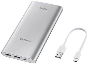 Samsung Fast Advanced Charge Power Bank Battery Pack 15W 10000 mAh with MicroUSB Cable - Silver - Saamaan.Pk