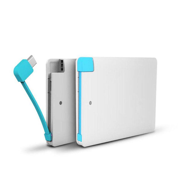Pocket PowerBank 2500 Built-In Wire For iPhone And Android - Saamaan.Pk