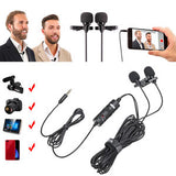 Boya BY-M1DM Dual Lavalier Universal Microphone with a Single 1/8 Stereo Connector, 13ft Cable for Cameras and Smmartphones - Saamaan.Pk